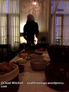 Jørgen heating up the chorizo