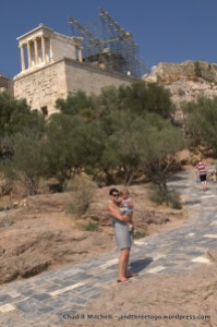 Zoë and me on our way up the the top of the Acropolis