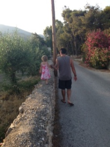 Chad and Zoë walking back to our apartment