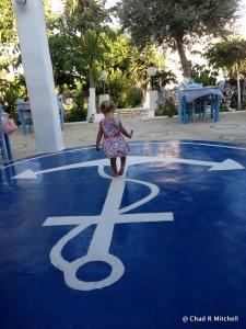 Zoë playing at Taverna Agkyra Paros, Greece, July 2013