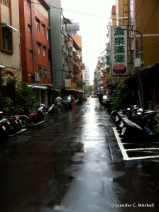 Wuxing Street on a rainy day