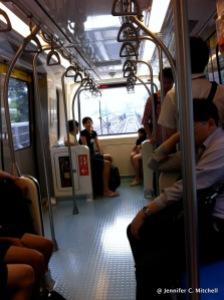 On the above ground part of the Taipei Metro