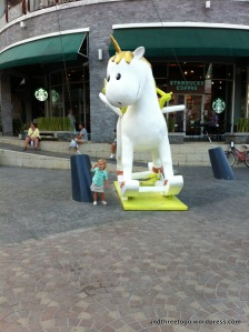 This unicorn statue is in front of the Market Village Hua Hin and Z loves it!