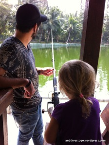 Chad and Z fishing at The Hua Hin Fishing Lodge