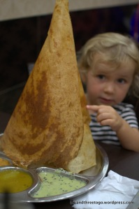 Zoë was impressed and  happy with her cheese dosai.