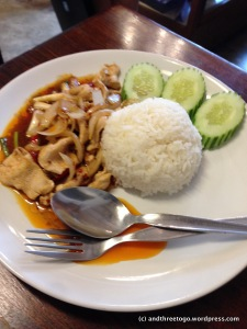 Chicken stir-fry with sweet chili sauce and rice
